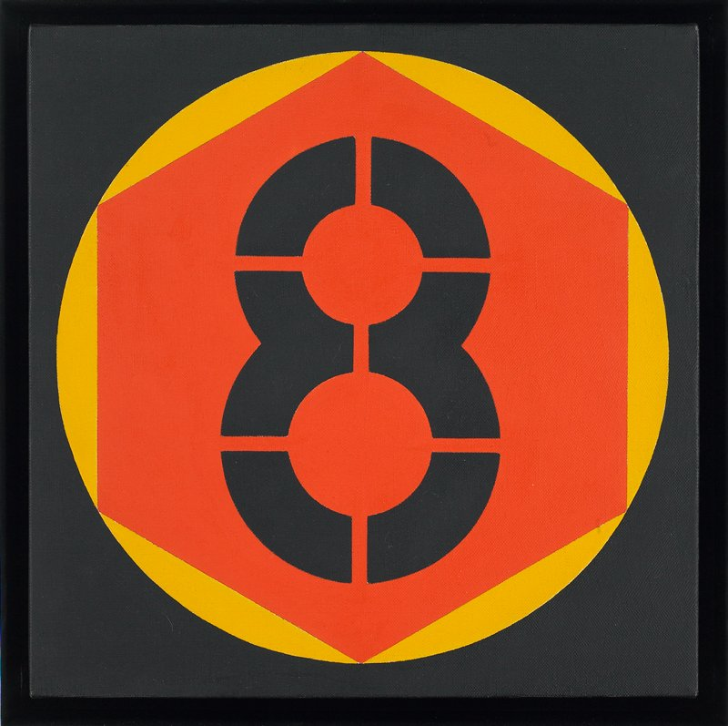 "Black stenciled ""8"" inside a red hexagon, inside a yellow circle, inside a black square."