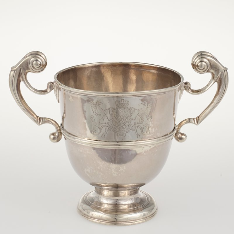 presentation cup, two-handled, George I, engraved with contemporary coat-of-arms