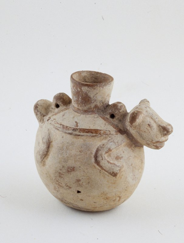 globular vessel with animal form (dog?) on top, ceramic, Peruvian (N. Coast), Pre-Columb. cat. card dims H 3-1/4'