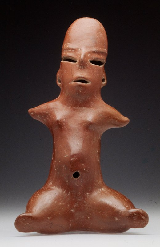 Seated human figure, ceramic, Mexican (Tlatilco) VIII BC; cat. card dims H 12-1/2 x W 7-1/4'; needs numbering change