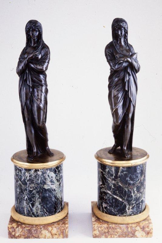 female figure, bronze on ormolu and marble base