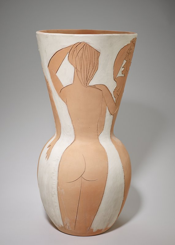 inscribed female figures; earthenware and white pigments