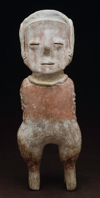 standing male figure, arms held to sides with applique headdress, Chinesco style, red stripes on buff earthenware,