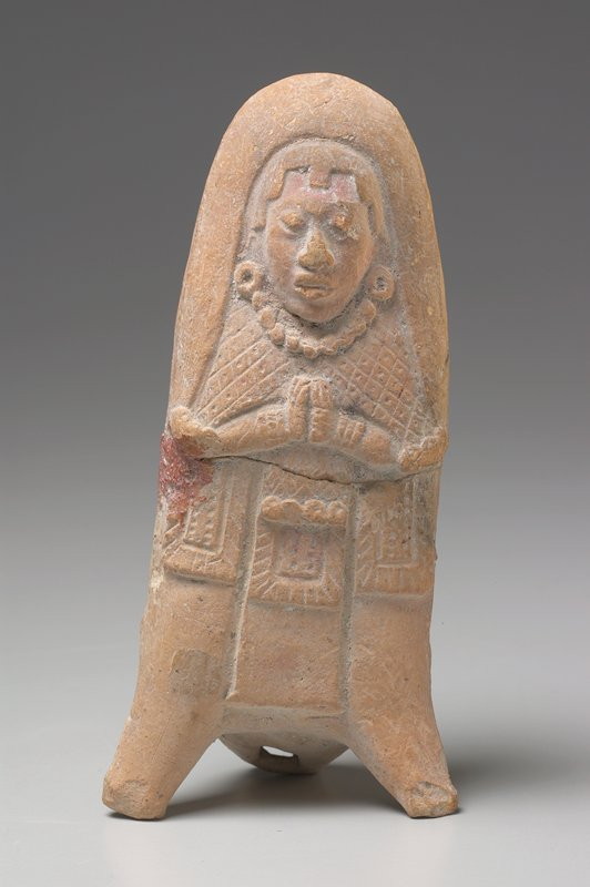 standing female figure, mold made, with hands together, cream colored earthenware