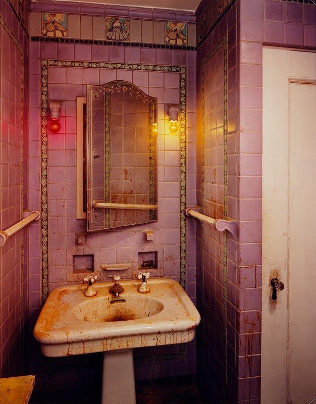 purple tile bathroom