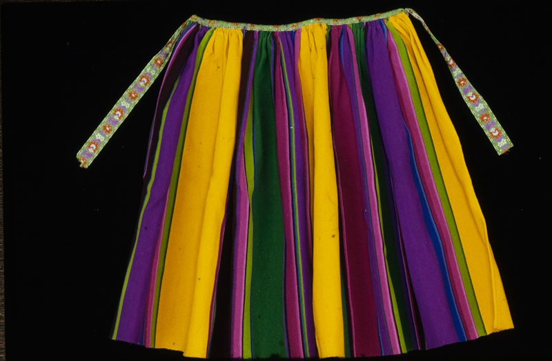 multicolored stripes; embroidered ribbon waistband and tie