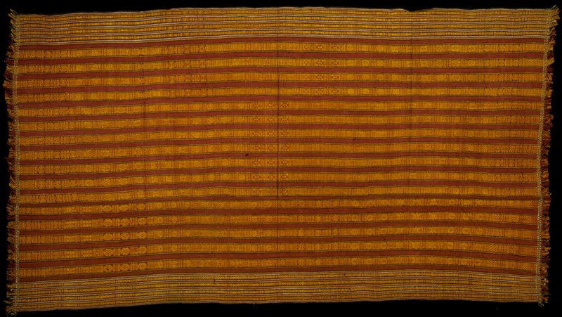 Kira, Mensi Mattha; silk/cotton striped brocade on silk/cotton background; L.88 in., W.48 in. 3 panels, red and black stripes with yellow supplementary warp patterns.