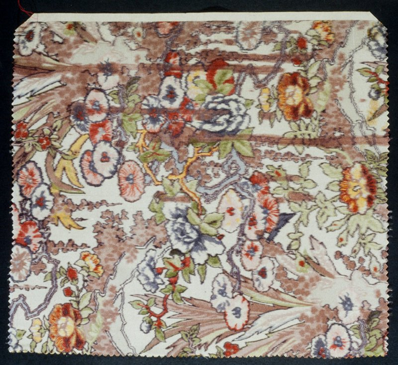 multi-colored floral designs with brown, green and reds predominating