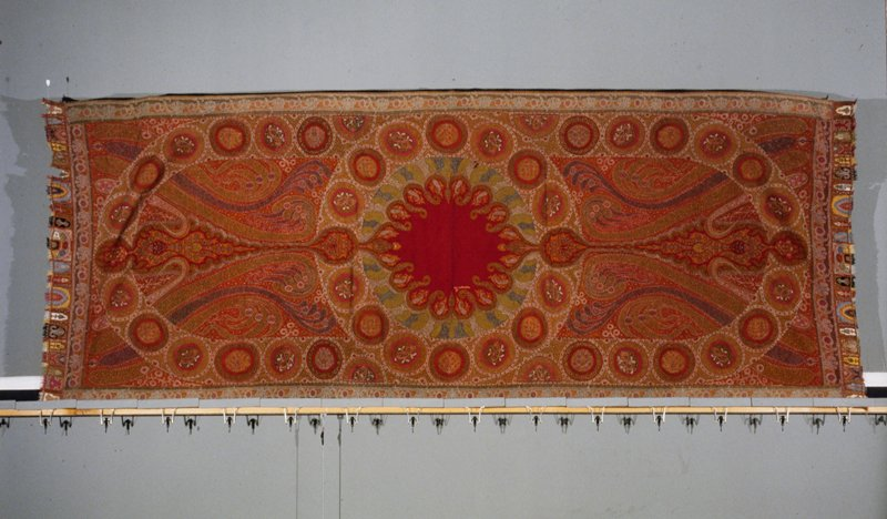 twill tapestry weave, embroidered and fringed ends