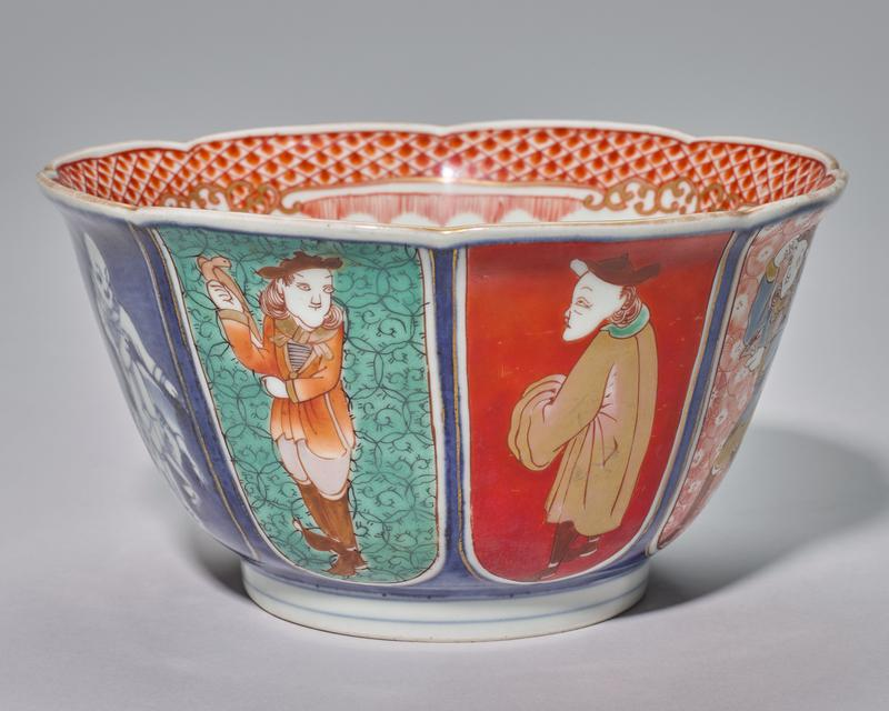 bowl, octagonal, eight reserve panels each with Dutch and Chinese men in various poses; blue underglaze and polychromed overglaze on porcelain. Marked on bottom