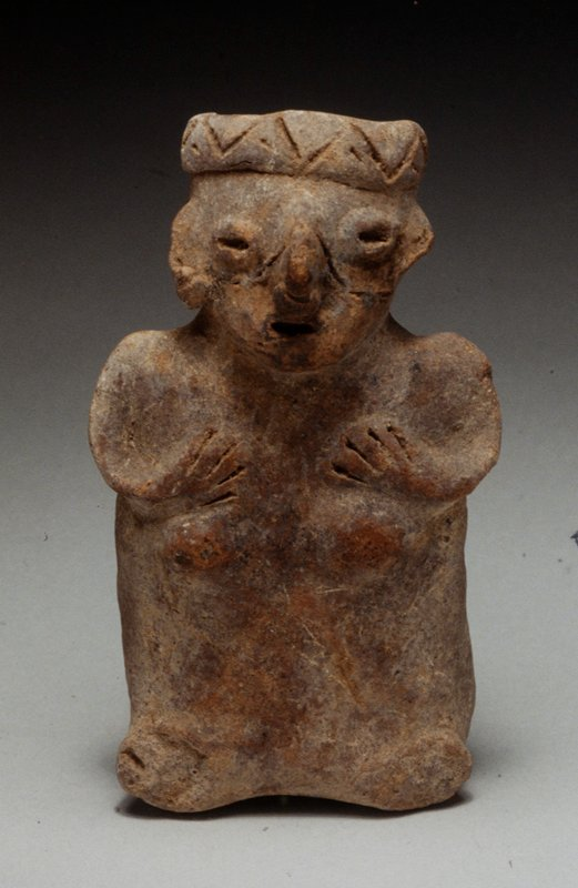 Standing Female Figure, hollow with open head, buff clay with traces of red pigment, West Mexican (Nayarit), 100BC-250AD NO PHOTO ON CAT. CARD cat. card dims H 5-5/8'