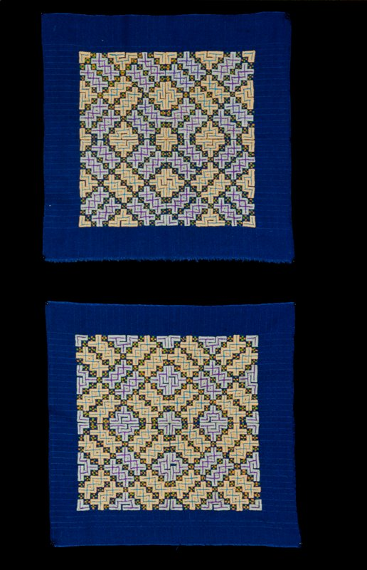 Fold and tuck squares, cotton, pulled threads, fold and tuck pattern, embroidered vegetable blossoms. Made by Hmong living in Northern border region of Thailand.