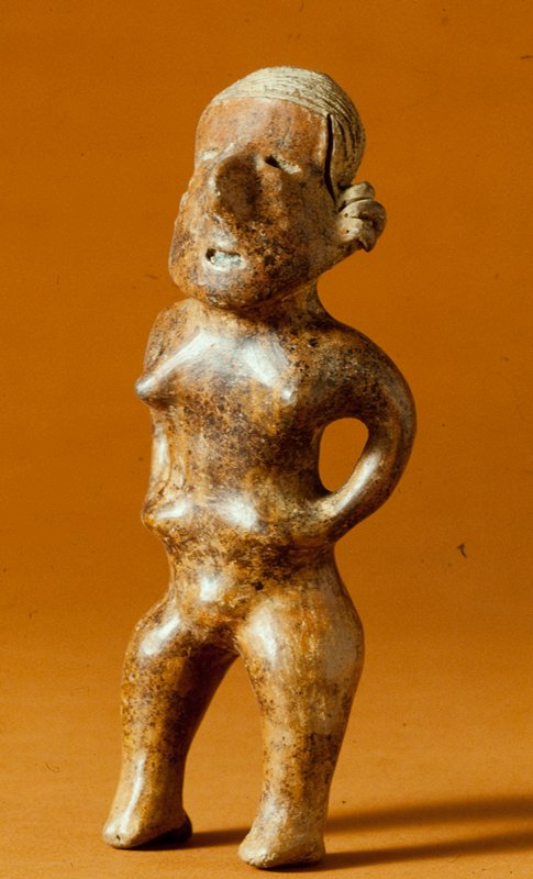 standing female figure, clay with red and black pigments, West Mexican (Nayarit), 100-500AD cat. card dims H 8-1/2 x W 4'