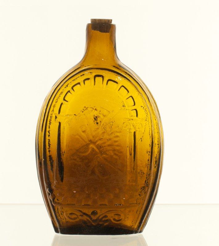 Sheppard Historical Flask, attributed to Zanesville; greenish amber; bottle and dishes from Ohio Manufacturers, 159 items in all, from the Walter Douglas Collection in Centerville, Ohio