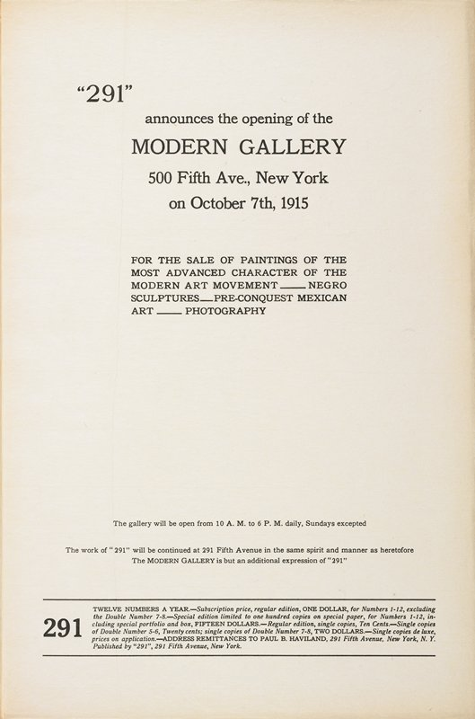 broadside announcing opening of the Modern Gallery