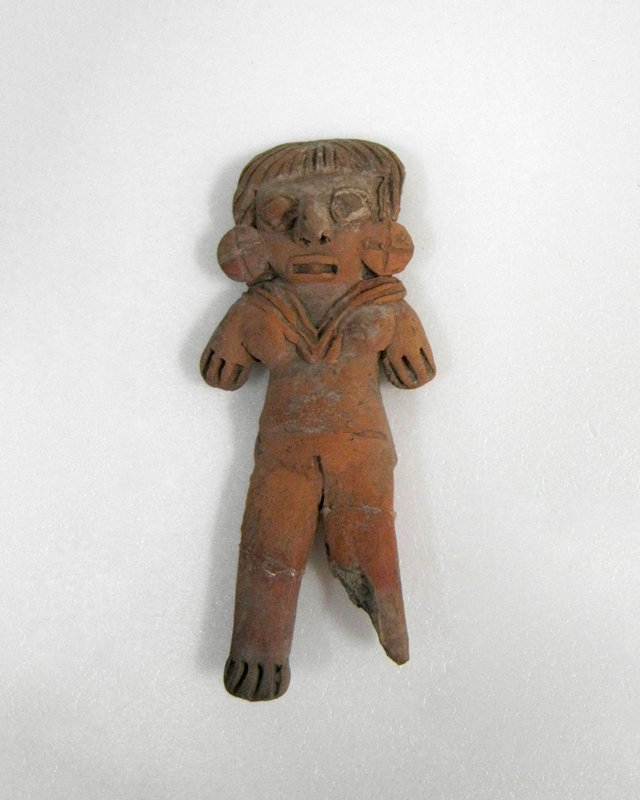 Standing Female Figure with diamond eyes, incised hair, flat earplugs with cross design, triple necklace. Slash fingers and toes. Burnished buff clay, traces of white. Left leg mended, right leg chipped below knee, ceramic, Mexican (Chupicuaro), 250BC - 300AD