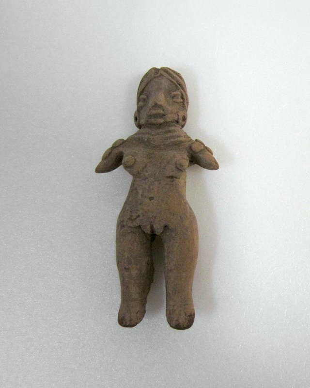 Standing Female Figure with shoulder scarification, triple necklace, incised hair parted at center, stub arms, beige clay, Mexican (Michoacan), 200-600AD