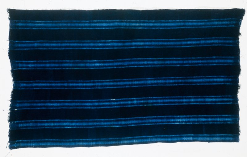 woman's skirt length, Dogon, cotton, narrowband, handwoven, indigo dyed; name of cloth: Sogou, a cloth for a newly married woman; made by Yessa Kelepili from Bandiagara; purchased on the road to Sanga, July 19,1985