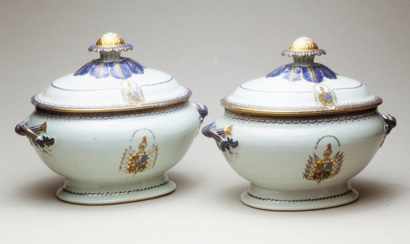 Chinese Export Partial Dinner Service, about 1780, porcelain with arms of owner, Duque de Agrada, on all pieces. Made for the Portuguese Market