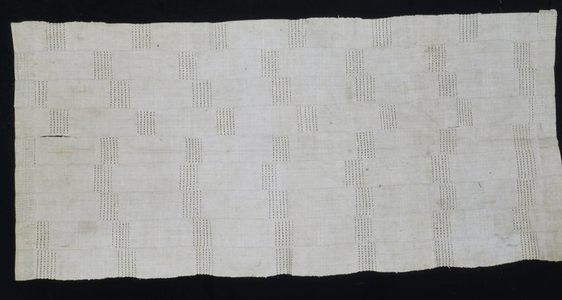 Asoke cloth, cotton, African; stored in box; stored with 86.100.24,32; stripwoven, openwork