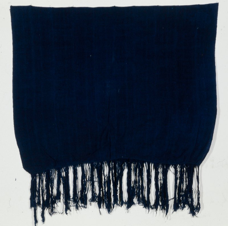 shawl, strip cloth, indigo dyed coarse hand-spun cotton