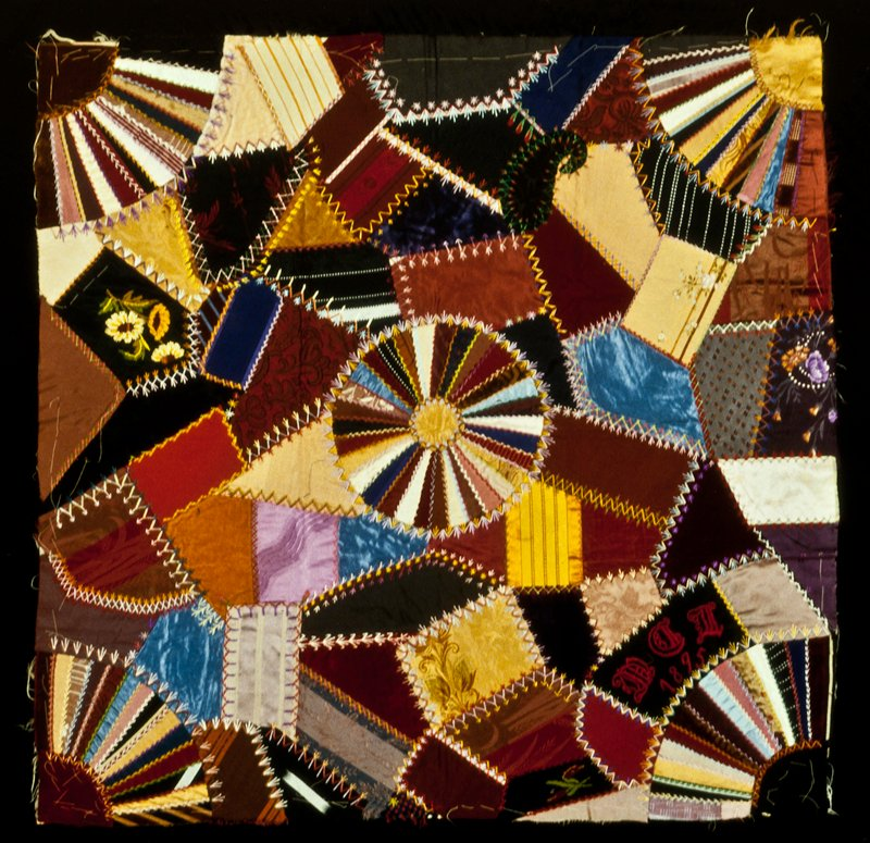 five Sections of a patchwork quilt; five stitched, backed, but unassembled pieces for a quilt incorporating velvet, silk, satin with silk embroidery