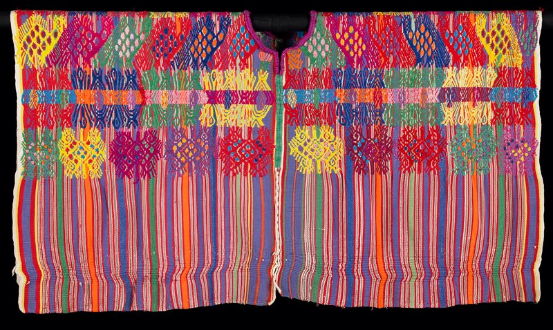 warp face plain weave with discontinuous supplementary weft patterning. Two panels hansewn along vertical center. Neck hoe cut out and embroidered with buttonhole stitch. Warp stripe pattern in purple, red green orange, white. Weft patterns of birds and possibly feathered serpent motifs extend across top half of huipil. Side seams appear to be open.