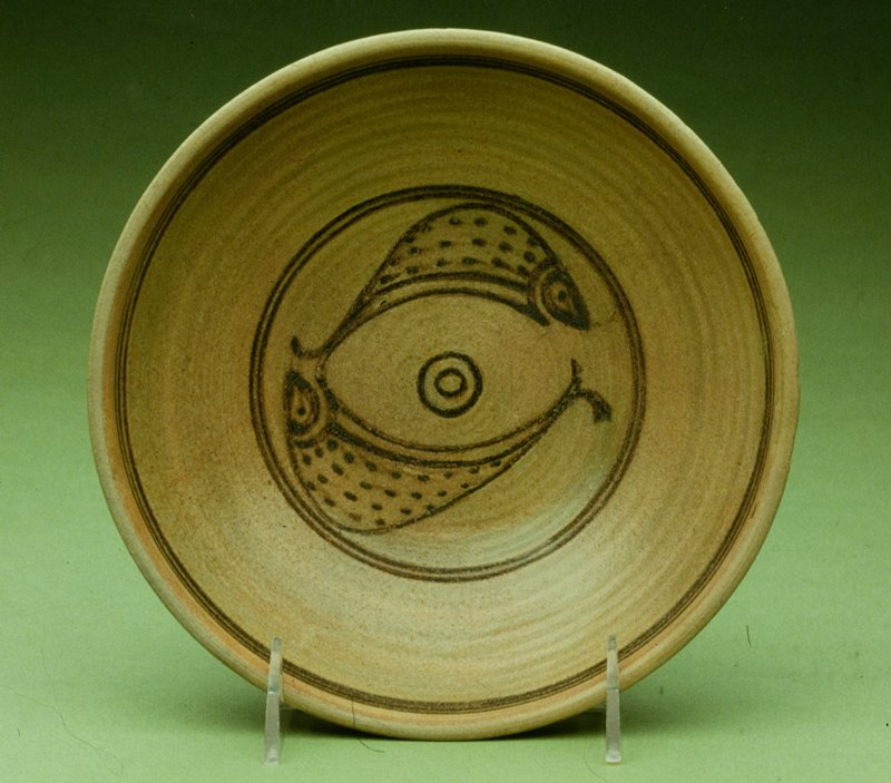 Sunkampaeng Dish, glazed earthenware; underglaze brown with fish decor.