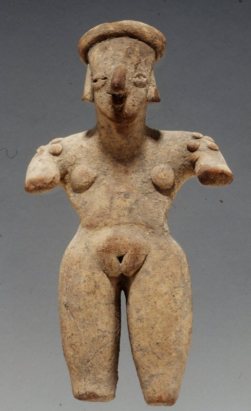 STANDING FEMALE FIGURE, arms out from body, applique shoulder scarification, headband, hair, unburnished buff clay, cream slip
