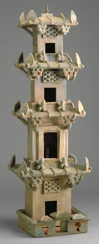 model of watchtower red earthenware with green glaze