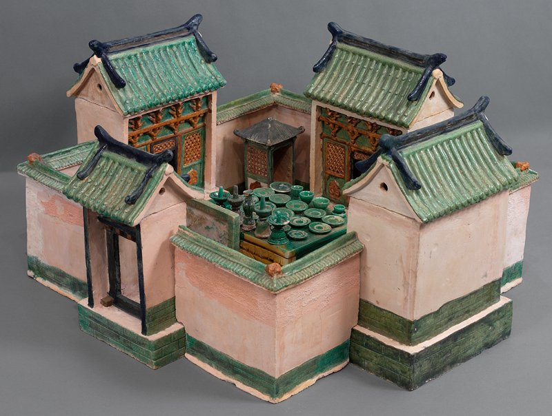 bride's female relative from wedding procession; three color glazed ceramic; one set of 33 pieces, including wedding party, palanquin, wedding chests, ceremonial food and wedding party