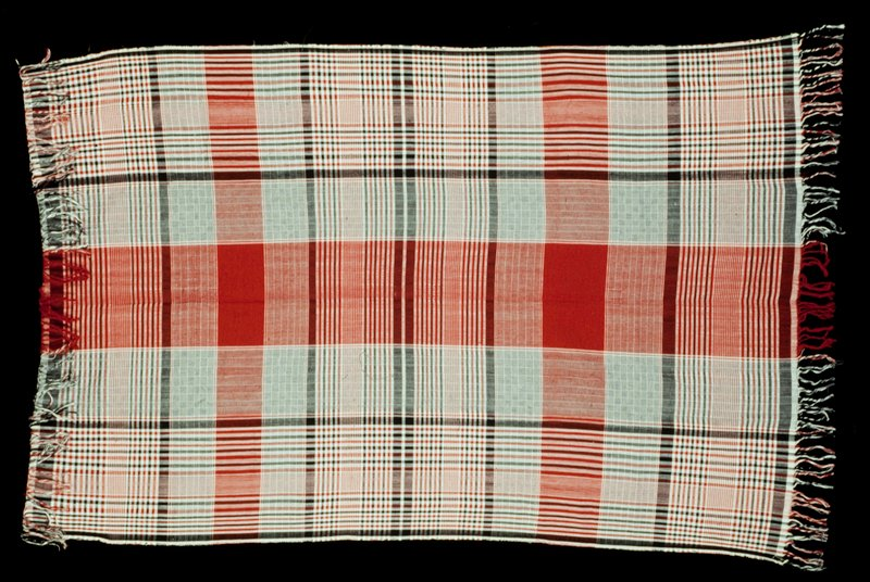 White, red, and black plaid pattern