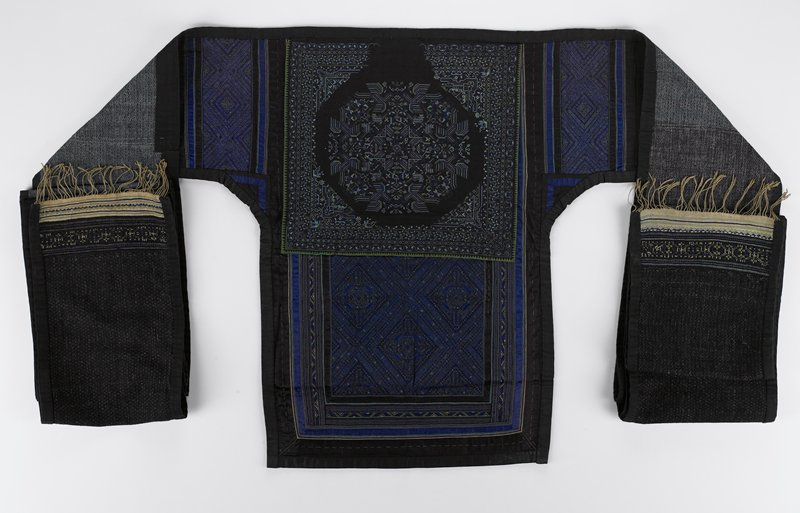 Baby Carrier, cotton, bast fiber with rubbed indigo dye, silk(?), brocade, embroidery.