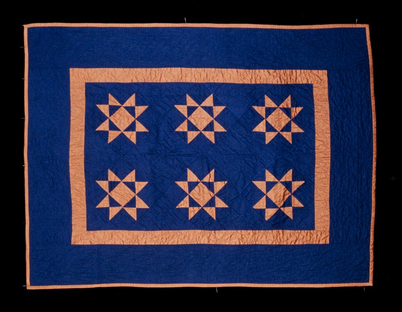 cotton patchwork, quilted; dark blue with brown stars