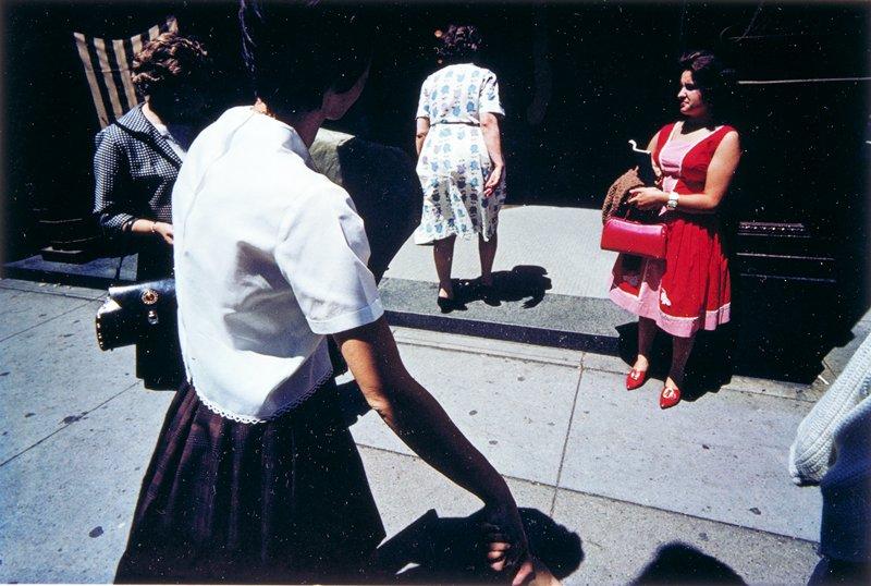 street scene woman in red, Providence