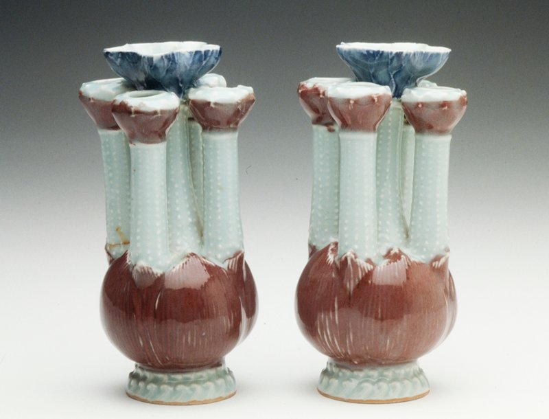 porcelain, gray liver and blue glazes, lotus shaped base with five stalks