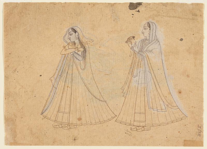 two ladies (recto), mother and child, probably Krishna and Yashoda (verso) illustration from a Ramayana series; Bikaner