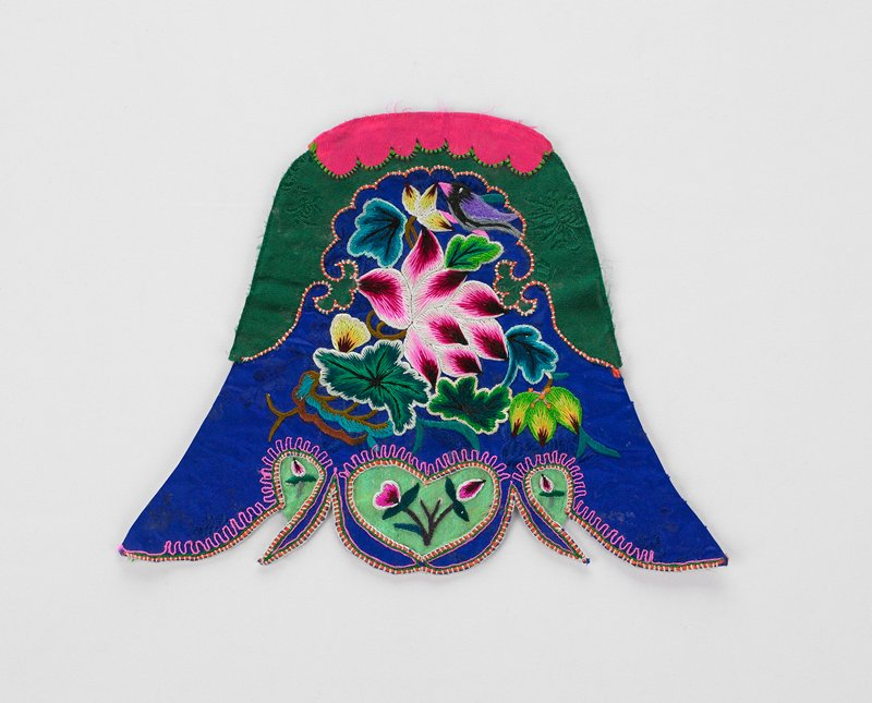 blue, green, pink fabric (silk?) with floral embroidered design and embroidered edges