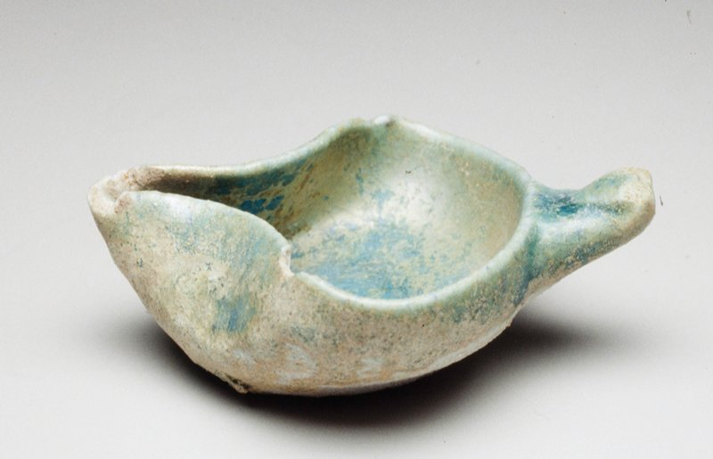 stub handle; blue glaze