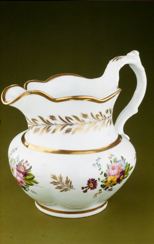 pitcher, ceramic-porcelain; 'Grecian' type with enamel-painted floral sprays and gilded decoration