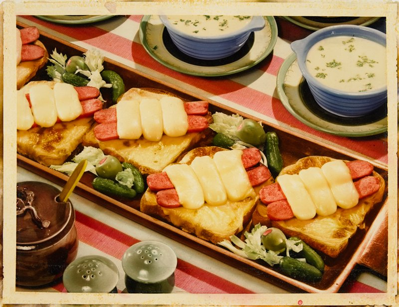open-faced sandwiches and bowls of soup