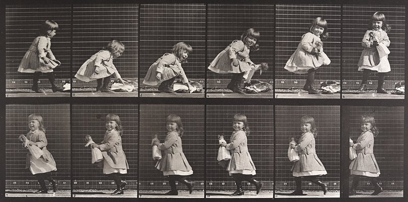 Child, lifting a doll, turning, and walking off. From a portfolio of 83 collotypes, 1887, by Edweard Muybridge; part of 781 plates published under the auspices of the University of Pennsylvania