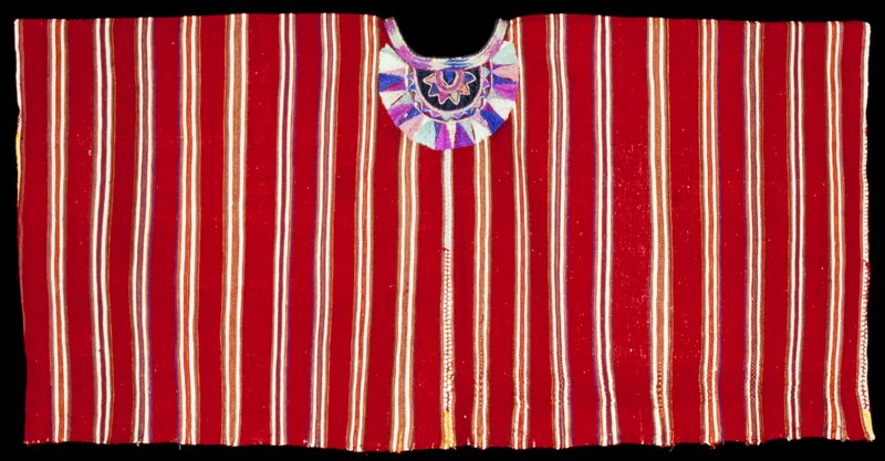 Two panel huipil; randa and embroidered side seams; appliqué and embroidered neckline, rosette with radiating triangles; red ground cloth with narrow blue, white, green, yellow and orange stripes alternating with wide yellow stripes.