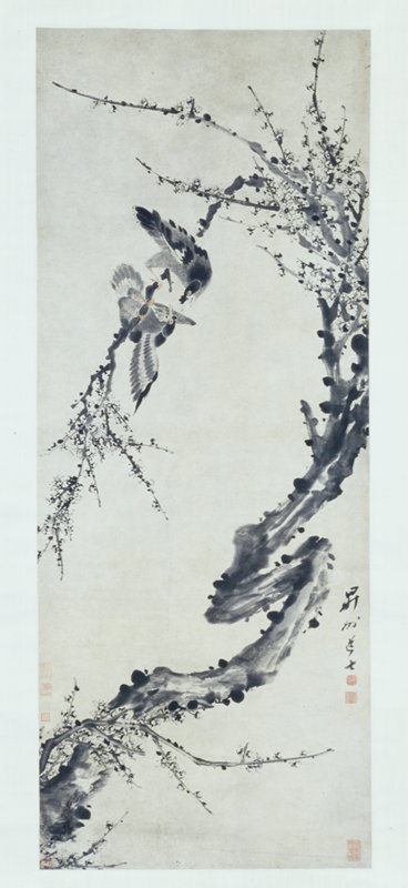 two birds fighting on a plum tree branch, Sotheby's, NY Lot 27
