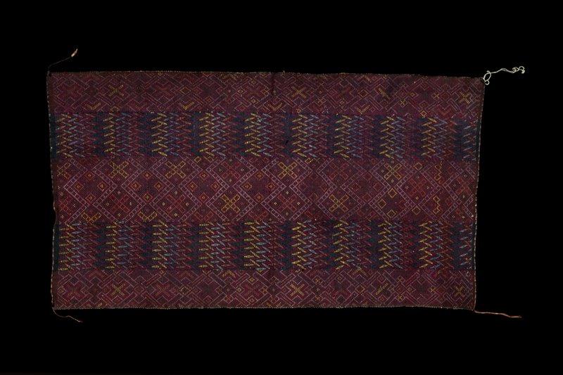 dark red; supplemental weft patterning