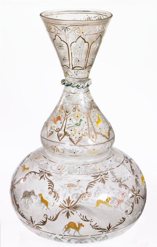 globular body with neck pinched in middle; painted figural decor, glass and pigment.