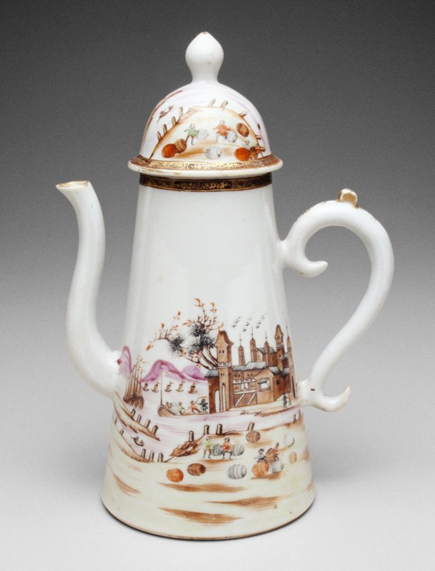 coffee pot, ceramic, Chinese Export; no ab on card scene of barrel rolling, monestary in the distance