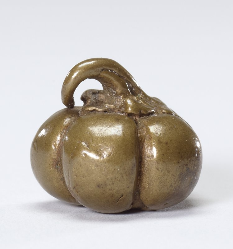 Squat, round gourd with attached curling stem