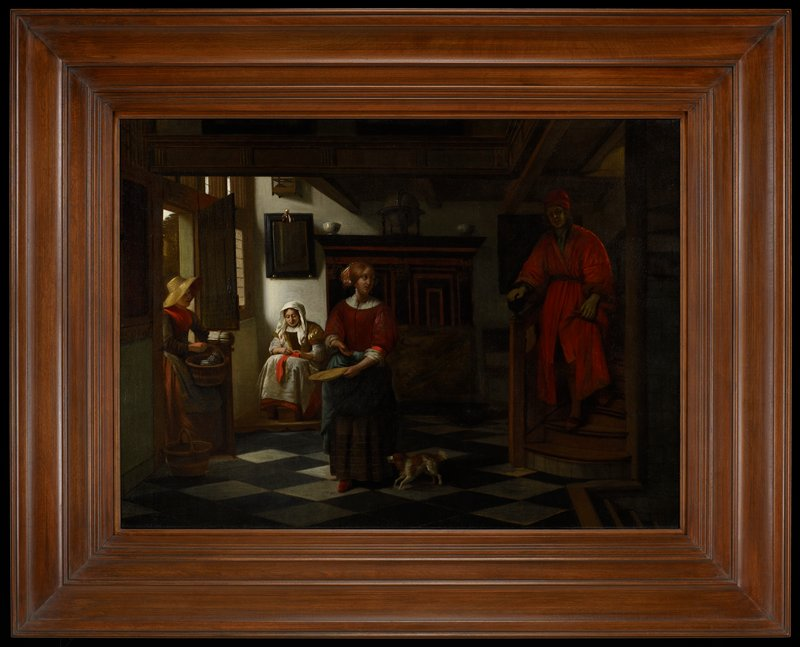 Dutch Golden Age. Interior of a Dutch house. Man in orange descending staircase at right; woman with a plate and small dog standing at center; woman with baskets of asparagus entering door at left; seated woman, sewing, in background.