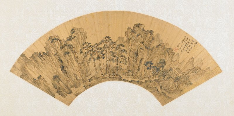 fan mounted as an album leaf; mountain retreat amongst a grove of pine trees at right, a path leads from the retreat to a larger group of pines between two mountain peaks where a scholar walks among the pines